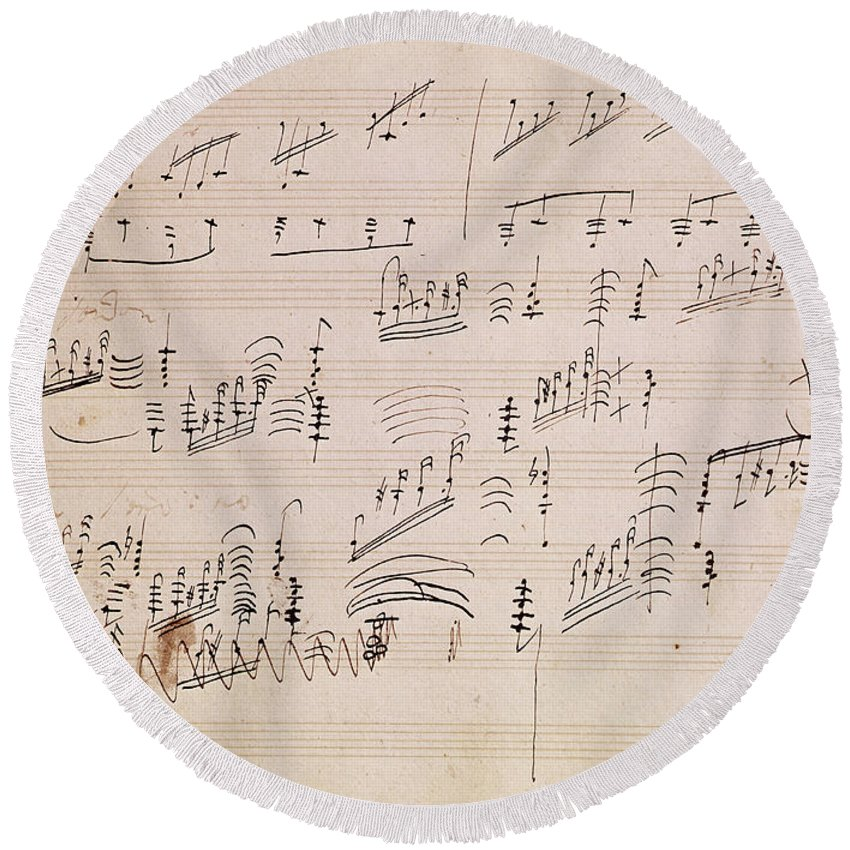 Score Round Beach Towel featuring the painting Score Sheet Of Moonlight Sonata by Ludwig van Beethoven