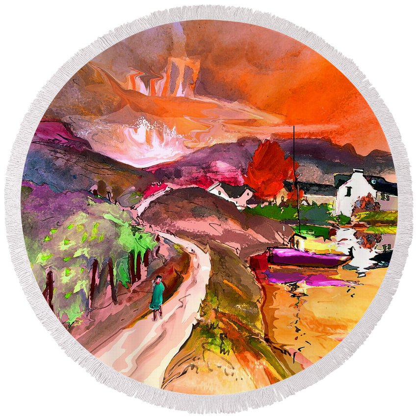 Scotland Paintings Round Beach Towel featuring the painting Scotland 02 by Miki De Goodaboom