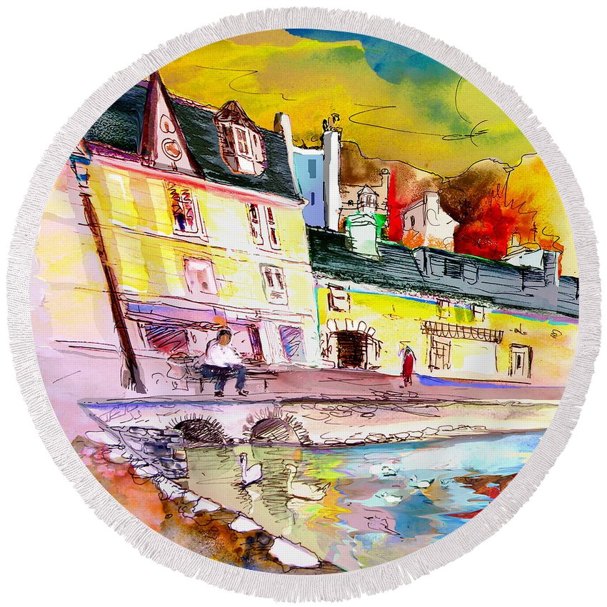 Scotland Paintings Round Beach Towel featuring the painting Scotland 04 by Miki De Goodaboom