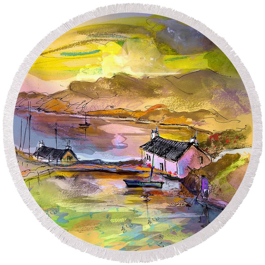 Scotland Paintings Round Beach Towel featuring the painting Scotland 11 by Miki De Goodaboom