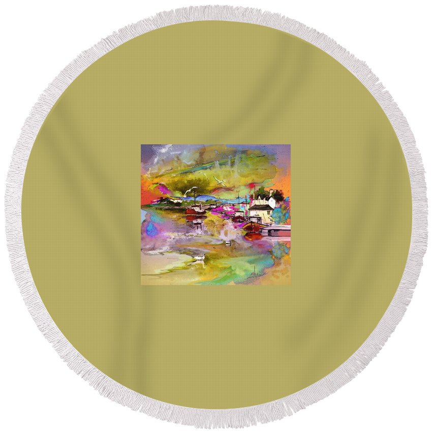 Scotland Paintings Round Beach Towel featuring the painting Scotland 13 by Miki De Goodaboom