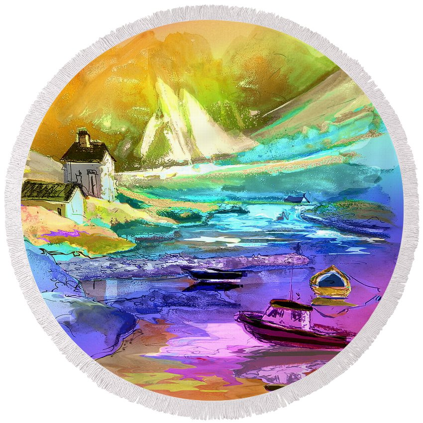 Scotland Paintings Round Beach Towel featuring the painting Scotland 15 by Miki De Goodaboom