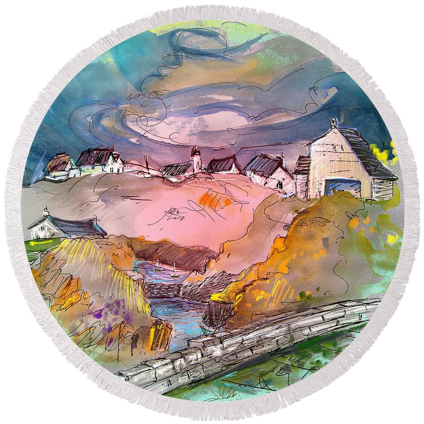 Scotland Paintings Round Beach Towel featuring the painting Scotland 17 by Miki De Goodaboom