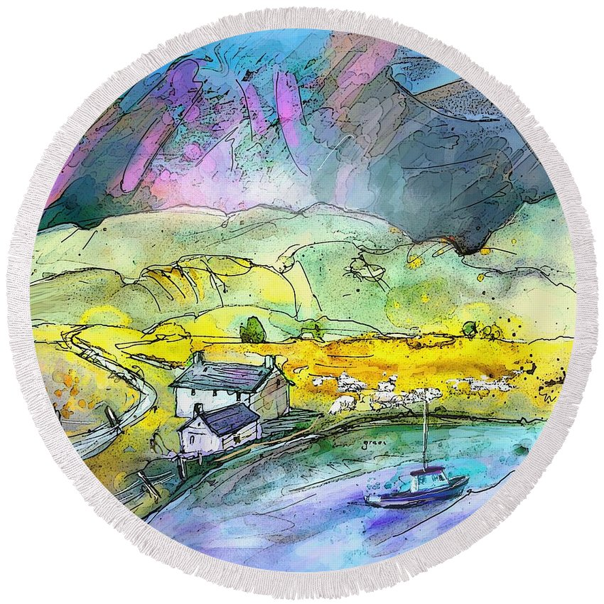 Scotland Round Beach Towel featuring the painting Scotland 21 by Miki De Goodaboom