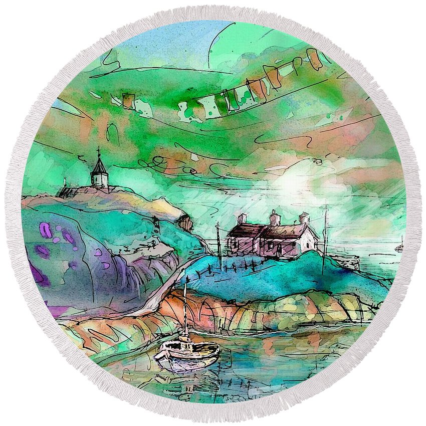 Scotland Round Beach Towel featuring the painting Scotland 25 by Miki De Goodaboom