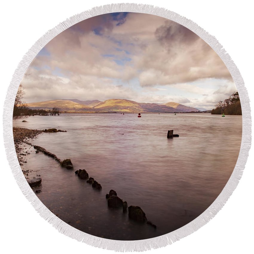 Scotland Round Beach Towel featuring the photograph Scotland Landscape by Sophie McAulay