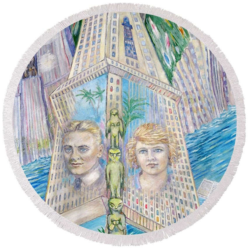 New York Fantasy Round Beach Towel featuring the painting Scott And Zelda In Their New York Dream Tower by Patricia Buckley