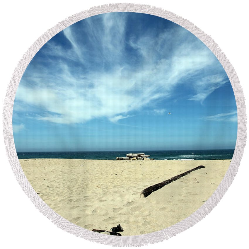 scott Creek Beach Round Beach Towel featuring the photograph Scott Creek Beach California Usa by Amanda Barcon