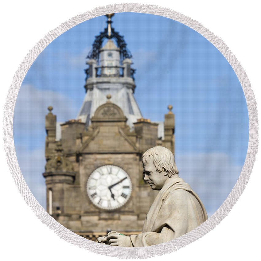Architecture Round Beach Towel featuring the photograph Scott Statue And Balmoral Clock Tower by Travis Rogers