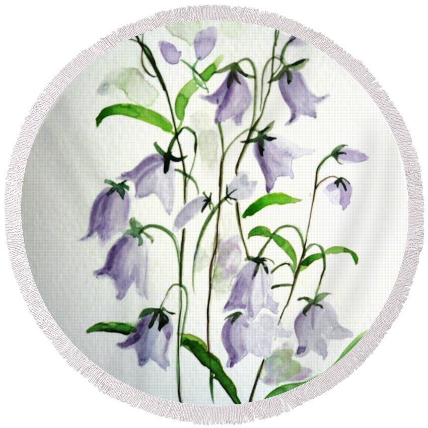 Blue Bells Hare Bells Purple Flower Flora Round Beach Towel featuring the painting Scottish Blue Bells by Karin Dawn Kelshall- Best