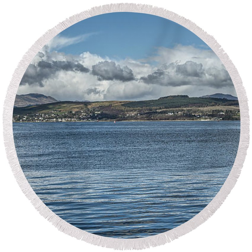 Greenock Round Beach Towel featuring the photograph Scottish Panorama Over The River Clyde by Jeremy Lavender Photography