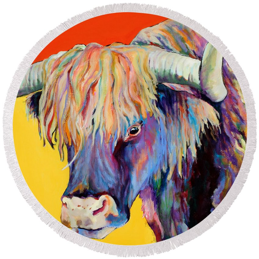 Farm Animal Round Beach Towel featuring the painting Scotty by Pat Saunders-White
