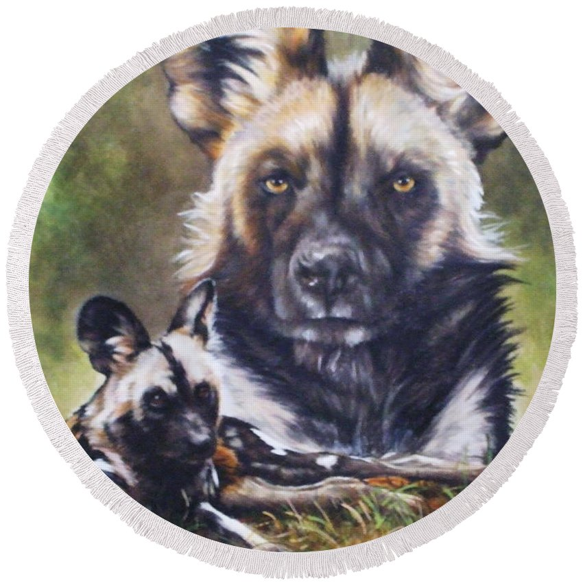Wild Dogs Round Beach Towel featuring the mixed media Scoundrel by Barbara Keith