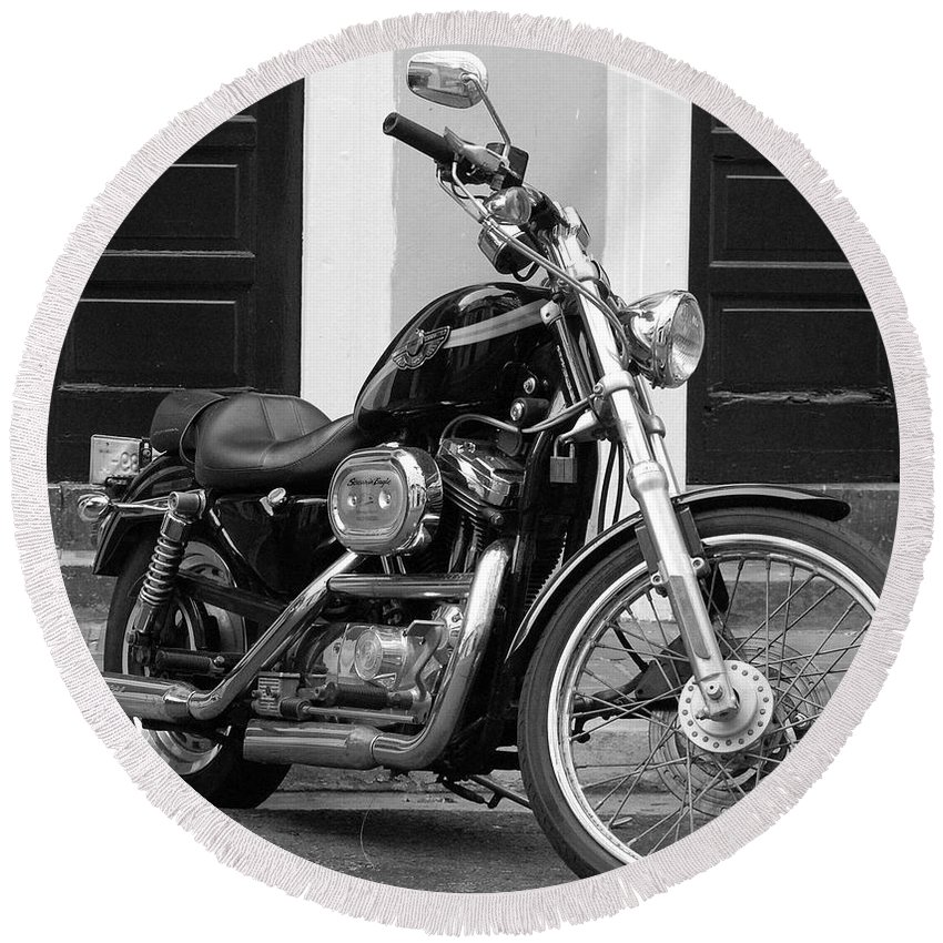 Motorcycle Round Beach Towel featuring the photograph Screamin Eagle by Debbi Granruth