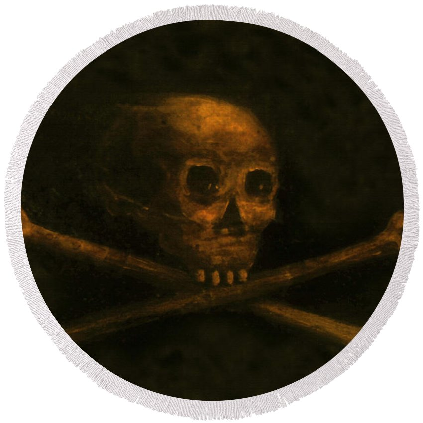 Scull And Crossbones Round Beach Towel featuring the painting Scull And Crossbones by David Lee Thompson