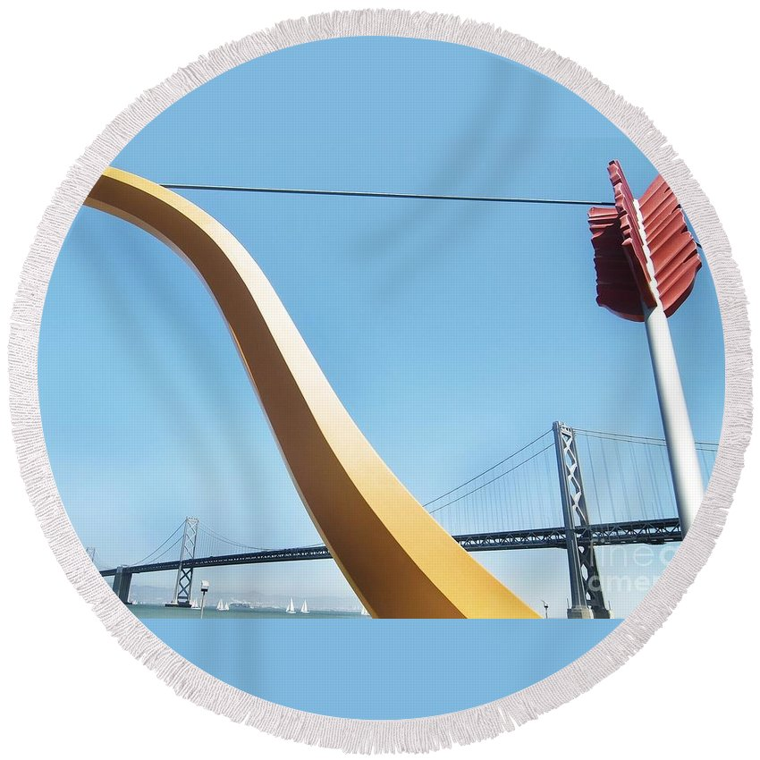 California Scenes Round Beach Towel featuring the photograph Sculpture By San Francisco Bay Bridge by Norman Andrus