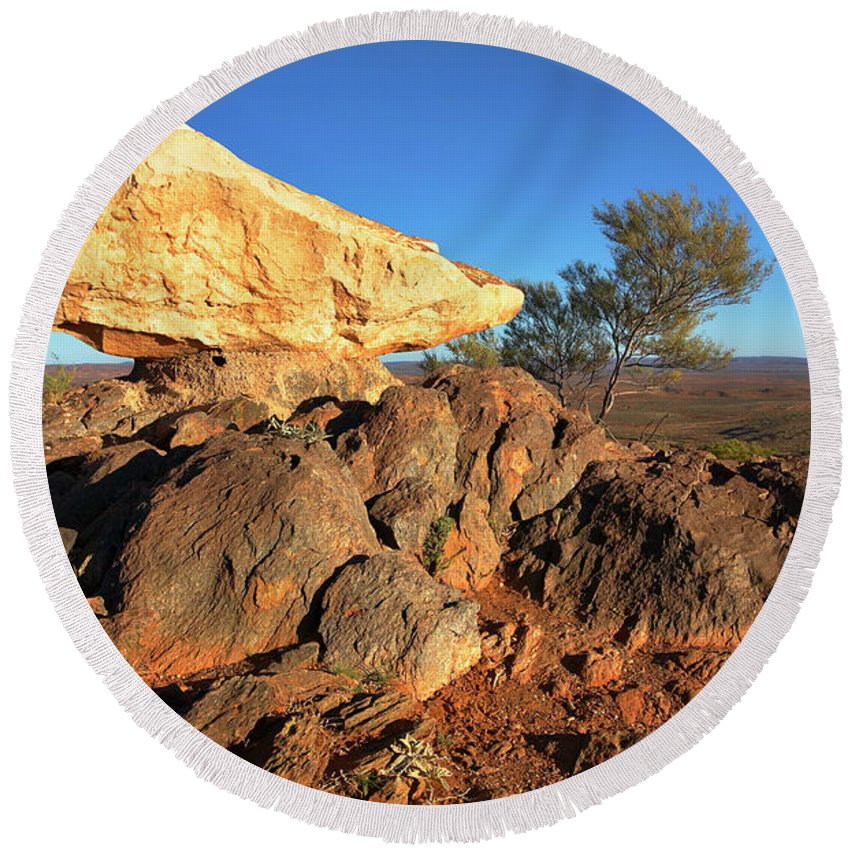Nsw New South Wales Australia Australian Outback Round Beach Towel featuring the photograph Sculpture Park Broken Hill by Bill Robinson