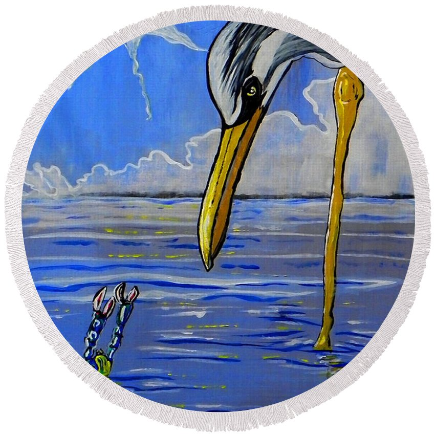 Terns Round Beach Towel featuring the painting Sea Birds by W Gilroy