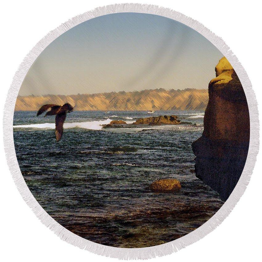 Ocean Round Beach Towel featuring the digital art Sea Cliff by Steve Karol