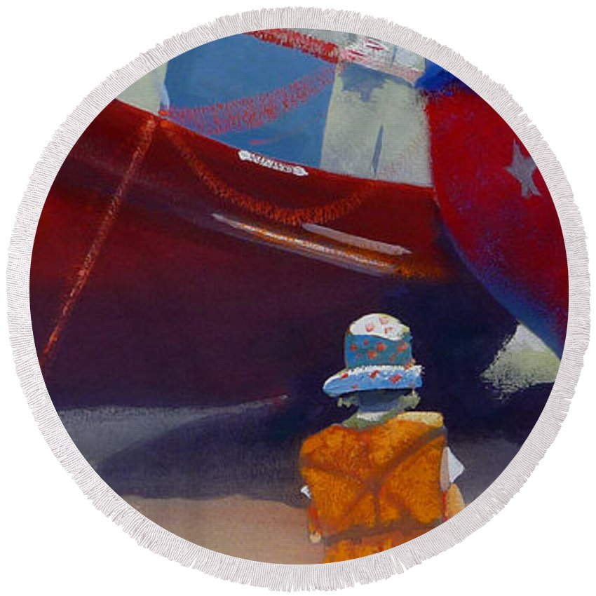 Dreamscape Round Beach Towel featuring the painting Sea Dreamer by Charles Stuart