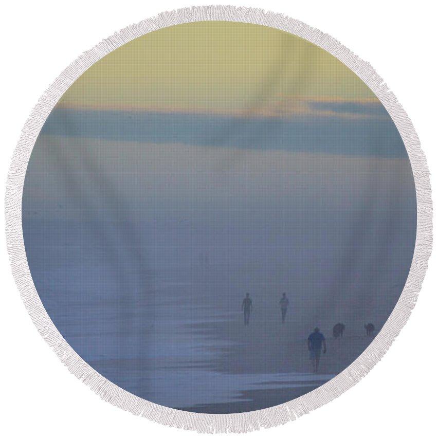 Beach Cottage Life Round Beach Towel featuring the photograph Sea Fog by Mary Hahn Ward