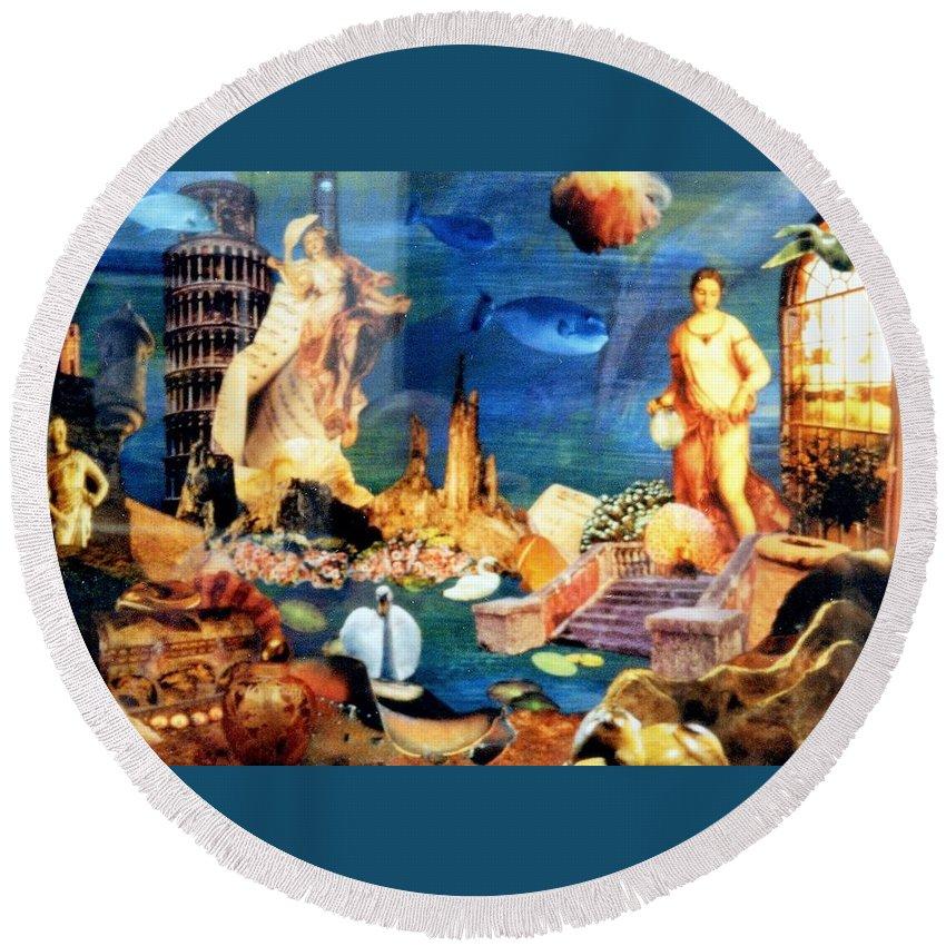 Fantasy Round Beach Towel featuring the painting Sea Garden by Gail Kirtz