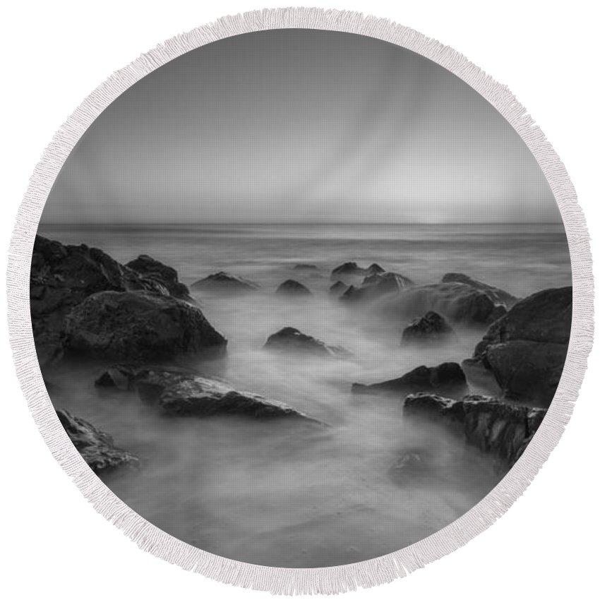 Sea Girt Round Beach Towel featuring the photograph Sea Girt Nj Sunrise Bw by Michael Ver Sprill