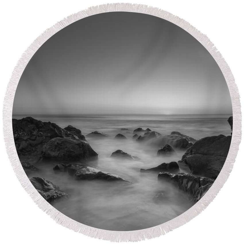 Sea Girt Round Beach Towel featuring the photograph Sea Girt Nj Sunrise Version 2 Bw by Michael Ver Sprill