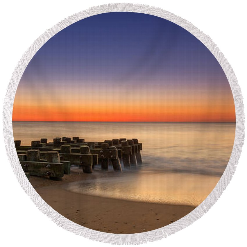 Sea Girt Round Beach Towel featuring the photograph Sea Girt Pilings by Michael Ver Sprill