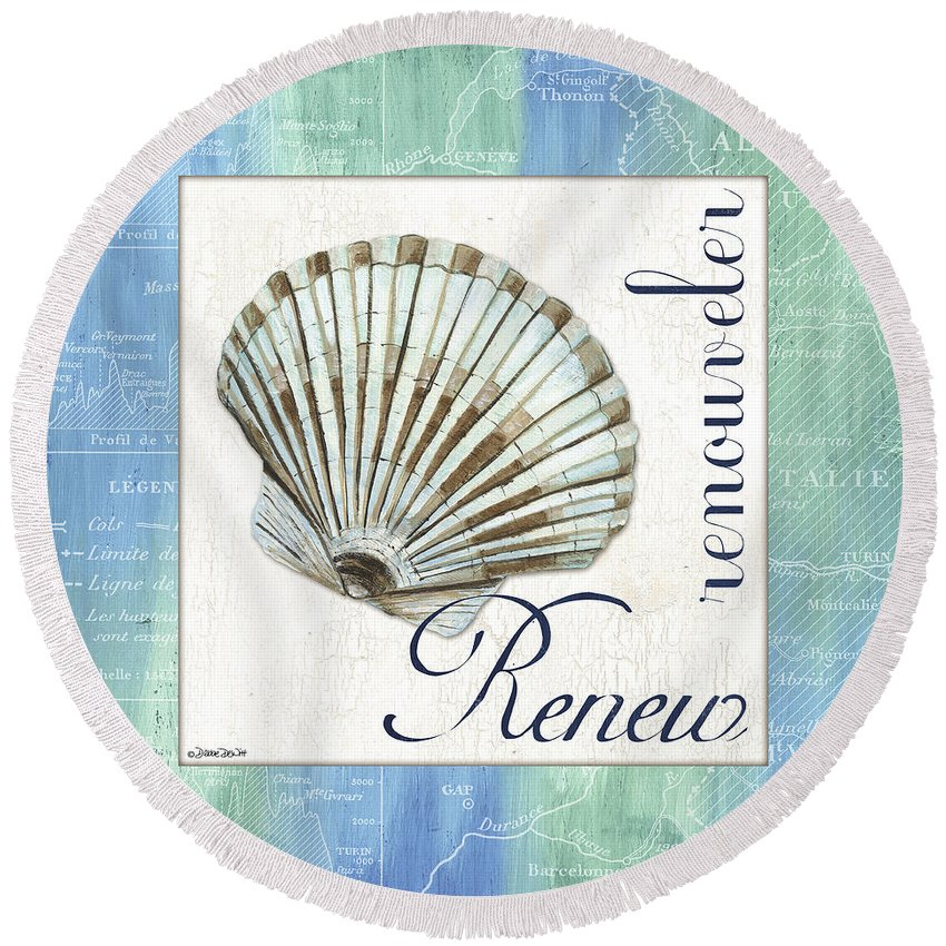 Shell Round Beach Towel featuring the painting Sea Glass 2 by Debbie DeWitt