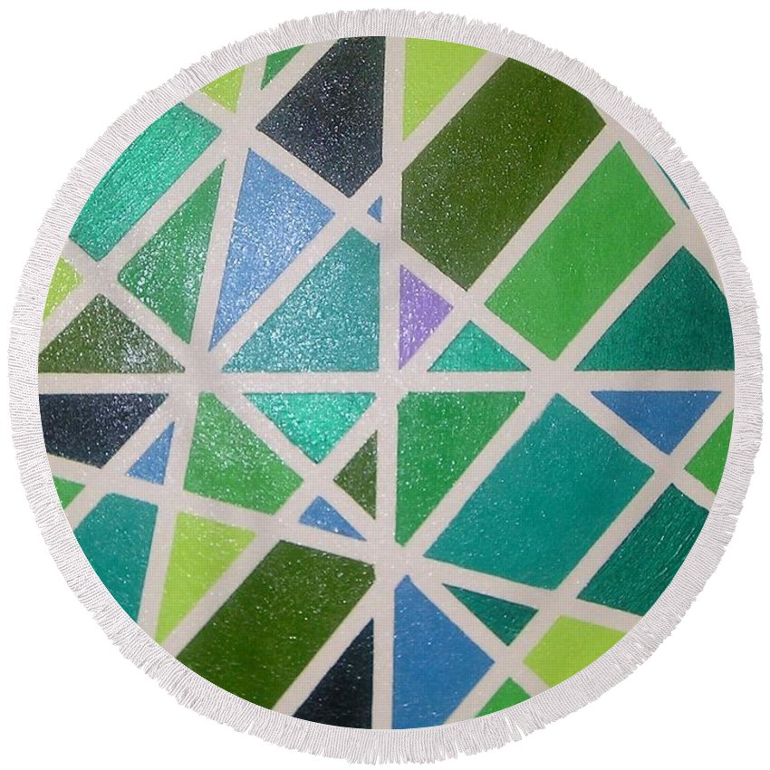 Green Round Beach Towel featuring the painting Sea Glass Revisited by Maria Bonnier-Perez