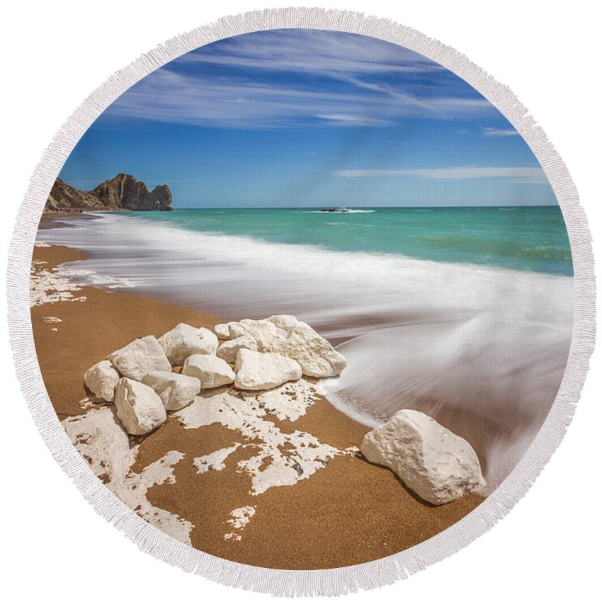 Landscape Round Beach Towel featuring the photograph Sea In Motion by Rich Wiltshire