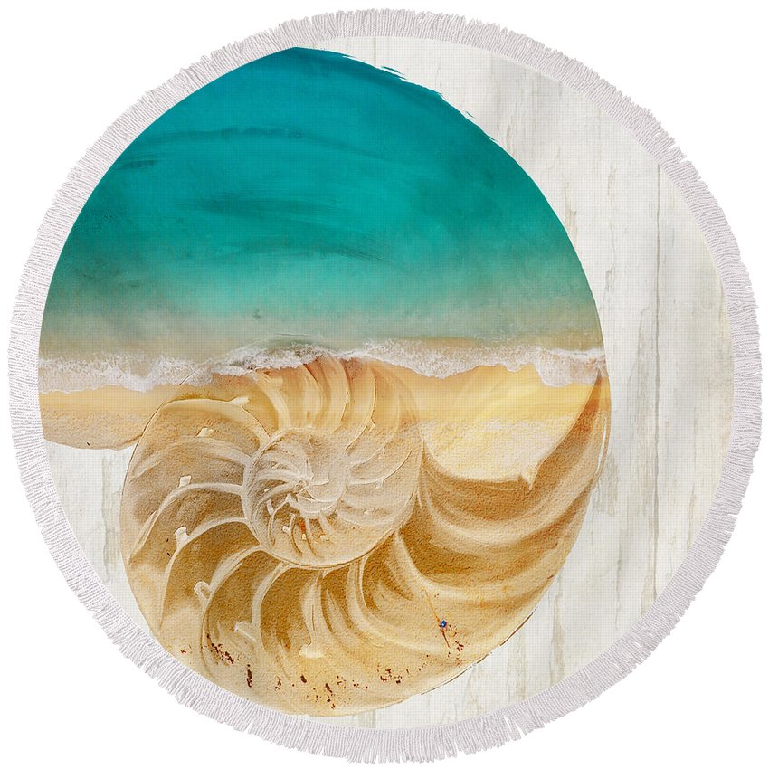 Sea Round Beach Towel featuring the painting Sea In My Hand by Mindy Sommers
