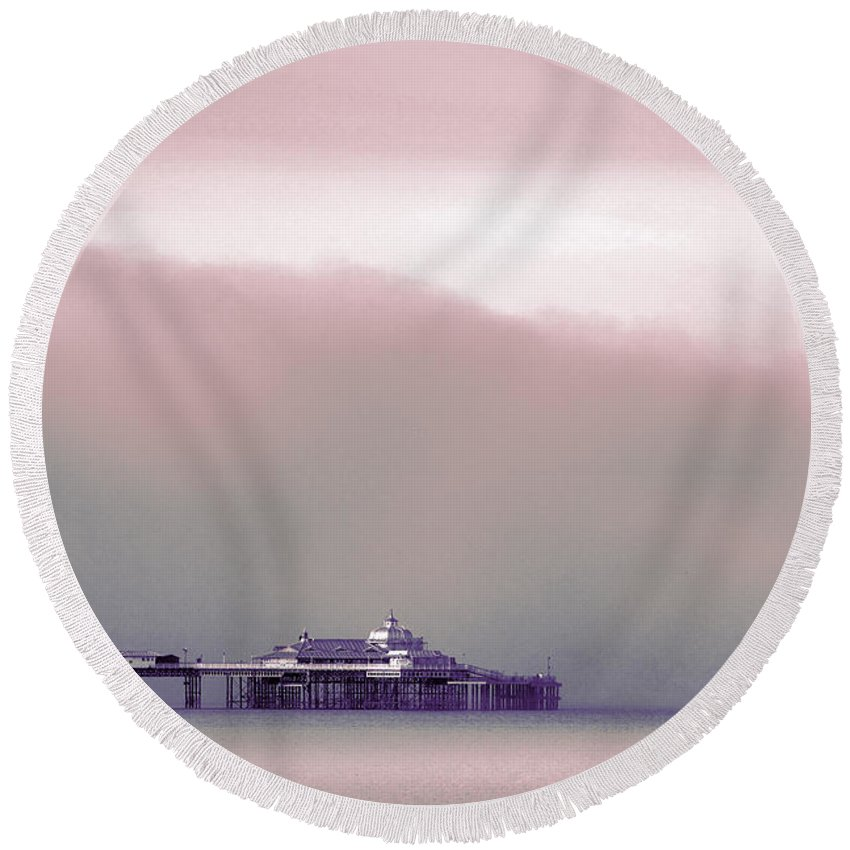 Pier Round Beach Towel featuring the photograph Sea Mist Replaces The Great Orme As The Backdrop To Llandudno Pier by Mal Bray