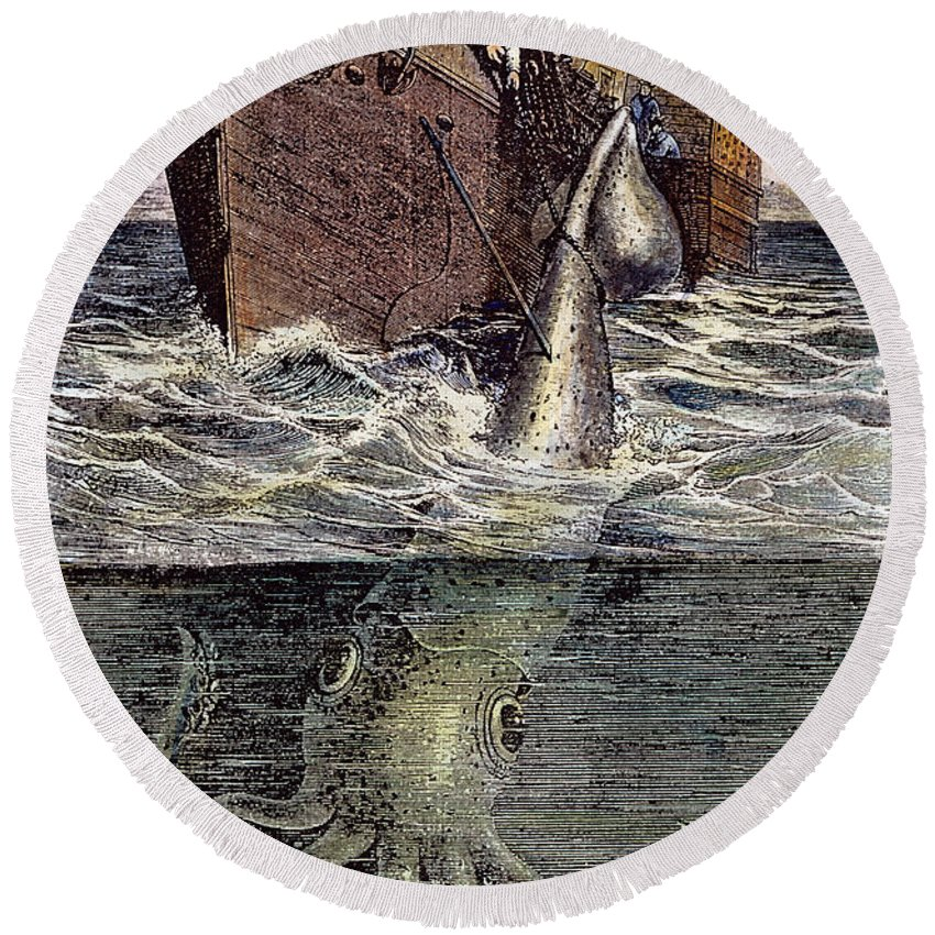 19th Century Round Beach Towel featuring the photograph Sea Monster by Granger
