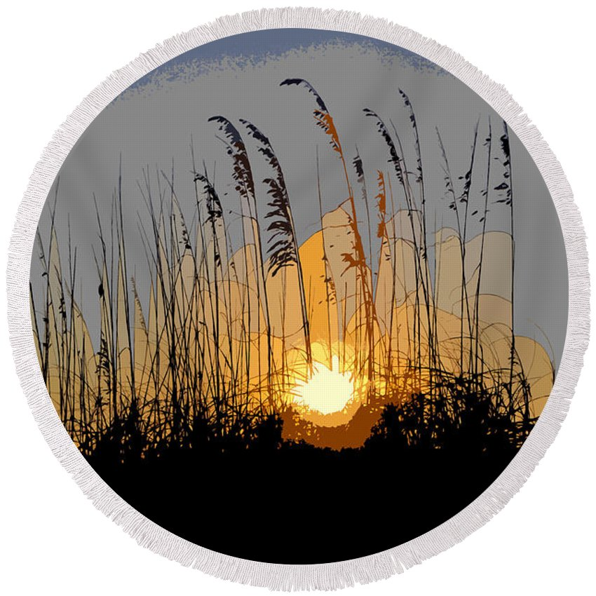 Sea Oats Round Beach Towel featuring the painting Sea Oats At Sunset by David Lee Thompson