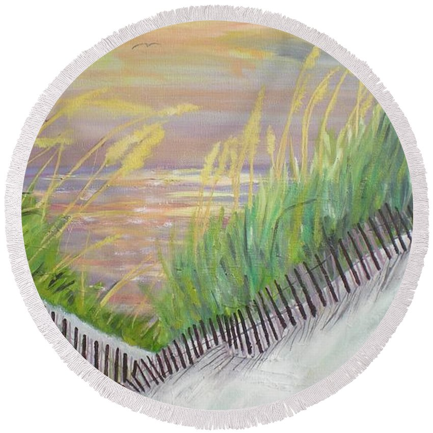 Seascape Round Beach Towel featuring the painting Sea Oats by Hal Newhouser
