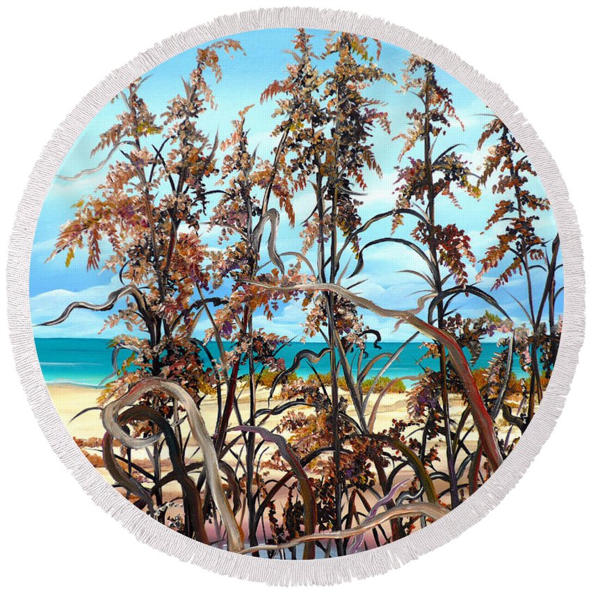 Ocean Painting Sea Oats Painting Beach Painting Seascape Painting Beach Painting Florida Painting Greeting Card Painting Round Beach Towel featuring the painting Sea Oats by Karin Dawn Kelshall- Best