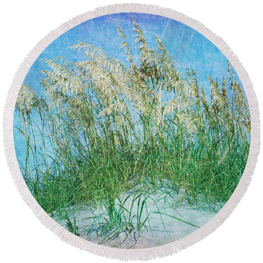 Sea Oats Round Beach Towel featuring the photograph Sea Oats Two by Guy Crittenden