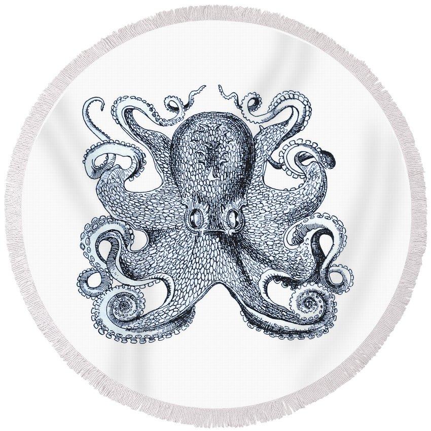 Octopus Round Beach Towel featuring the digital art Sea Octopus Coastal Decor by Erin Cadigan
