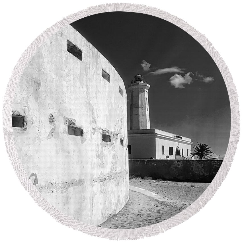 Lighthouse Round Beach Towel featuring the photograph Sea Perspectives by Marcello Montinari
