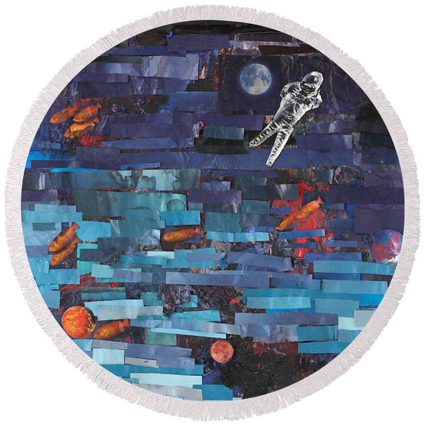 Astronaut Round Beach Towel featuring the mixed media Sea Space by Jaime Becker