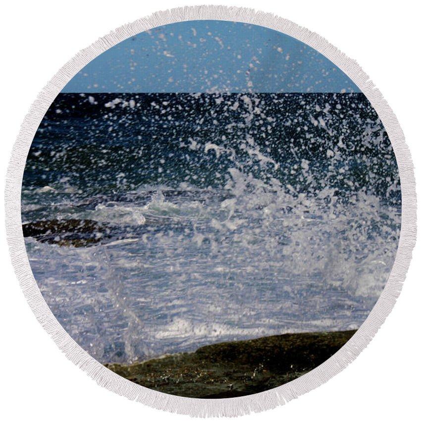 Susan Vineyard Round Beach Towel featuring the photograph Sea Spray by Susan Vineyard
