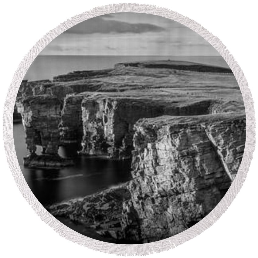 Photography Round Beach Towel featuring the photograph Sea Stacks, Yesnaby, Orkney, Scotland by Panoramic Images