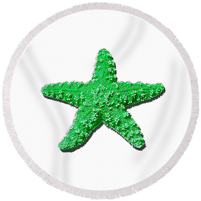 Sea Star Round Beach Towel featuring the photograph Sea Star Green .png by Al Powell Photography USA