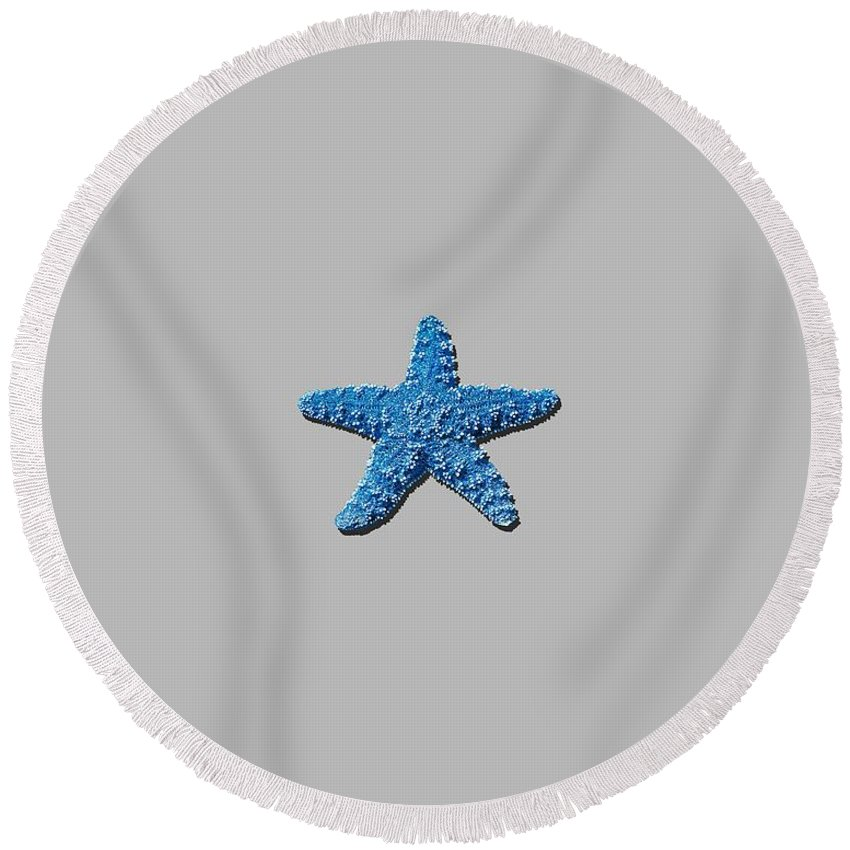 Sea Star Round Beach Towel featuring the photograph Sea Star Medium Blue .png by Al Powell Photography USA