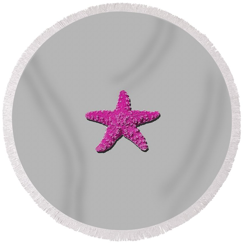 Sea Star Round Beach Towel featuring the photograph Sea Star Pink .png by Al Powell Photography USA