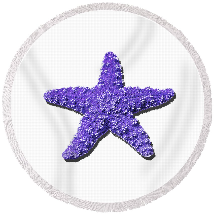 Sea Star Round Beach Towel featuring the photograph Sea Star Purple .png by Al Powell Photography USA