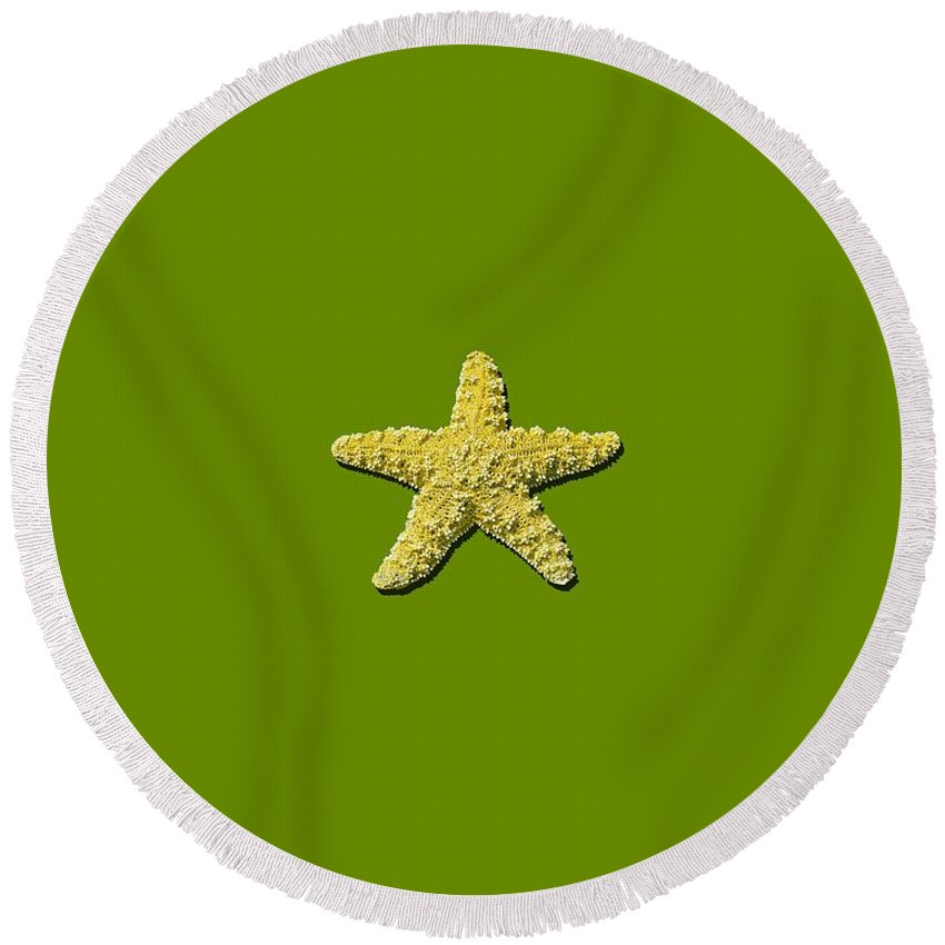 Sea Star Round Beach Towel featuring the photograph Sea Star Yellow .png by Al Powell Photography USA