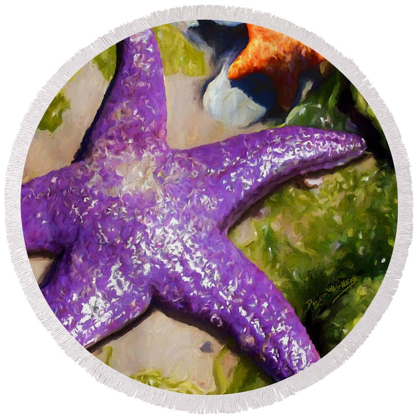 Sea Stars Round Beach Towel featuring the painting Sea Stars by David Wagner